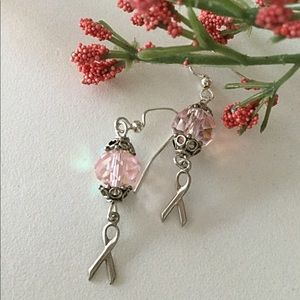 Pink Crystal Breast Cancer Earrings